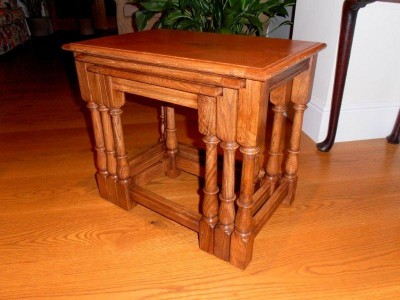 Three Tables in figured Oak